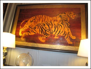 Pannello Art Decò in legno . rappresentate 'Tigri '