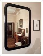 Large wall mirror in the 1920s, with black wooden frame dimensions 73x114 cm