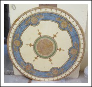MARBLE TABLE TOP WITH SCAGLIOLA DECORATION 140cm diameter WITH MARBLE BASE