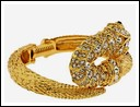 Kenneth Jay Lane - Gold and Crystal Snake Bracelet.