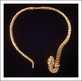 Gold/Crystal Snake Bib Necklace - K.J.L.
